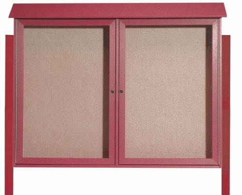 Rosewood Two Door Hinged Door Plastic Lumber Message Center with Vinyl Posting Surface (Posts Included)- 40