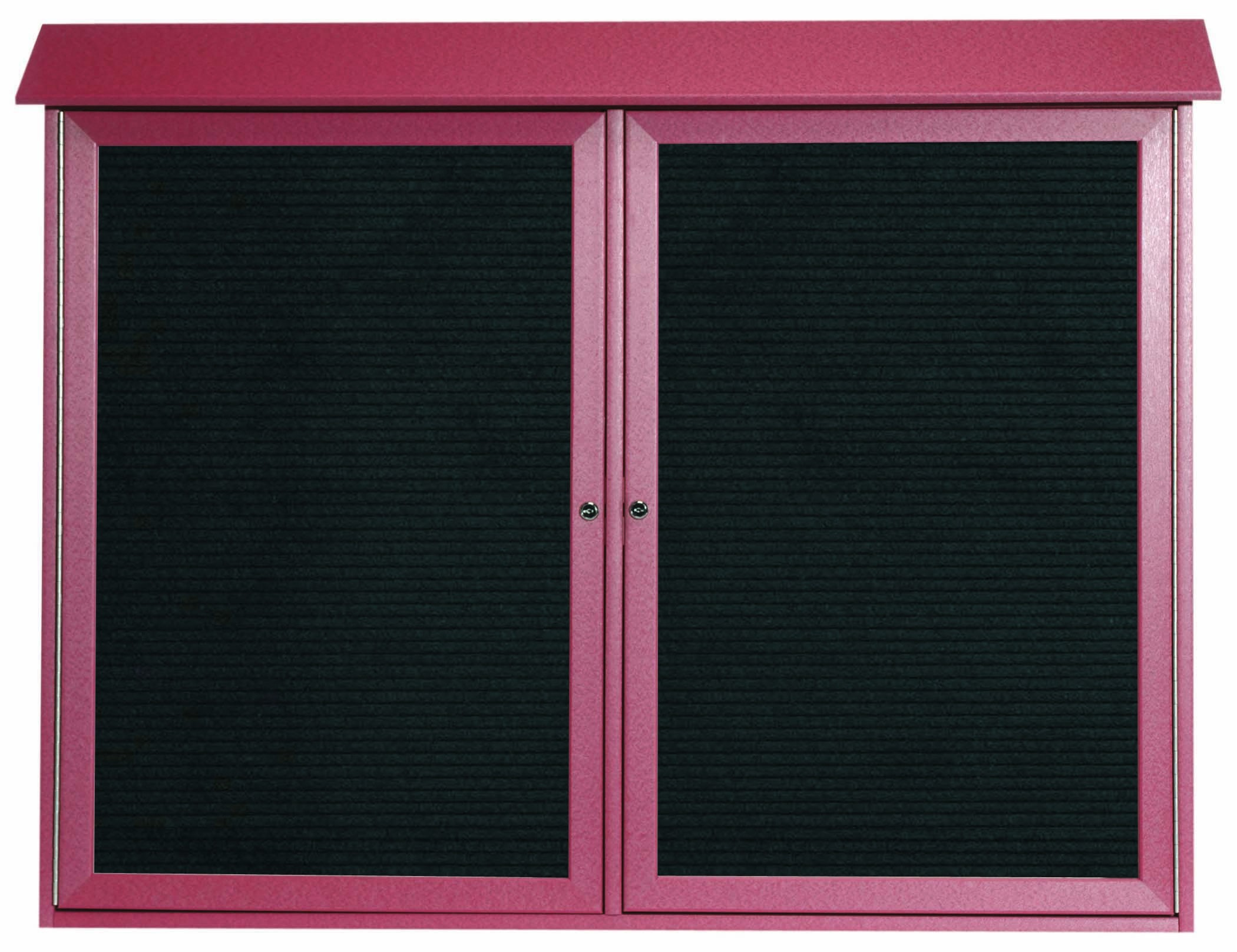"""Aarco Products PLD4052-2L-7 Rosewood Two Door Hinged Door Plastic Lumber Message Center with Letter Board, 40""""H x 52""""W"""