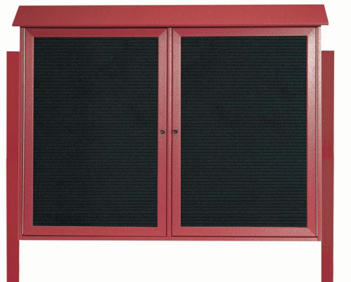 """Aarco Products PLD4052-2LDPP-7 Rosewood Two Door Hinged Door Plastic Lumber Message Center with Letter Board (Posts Included), 40""""H x 52""""W"""