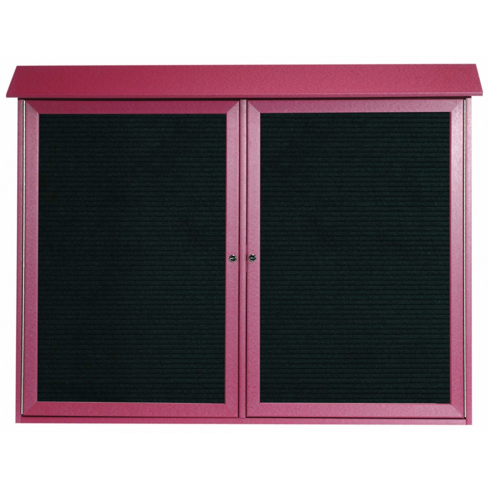"Aarco Products PLD4052-2L-7 Rosewood Two Door Hinged Door Plastic Lumber Message Center with Letter Board, 40""H x 52""W"