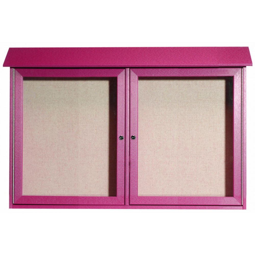 Rosewood Two Door Hinged Door Plastic Lumber Message Center with Vinyl Posting Surface- 30