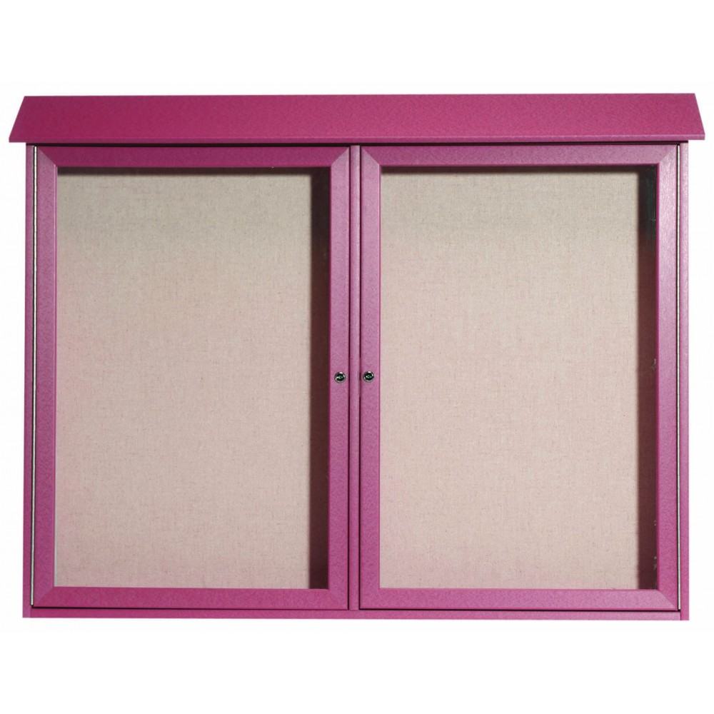 Rosewood Two Door Hinged Door Plastic Lumber Message Center with Vinyl Posting Surface- 40