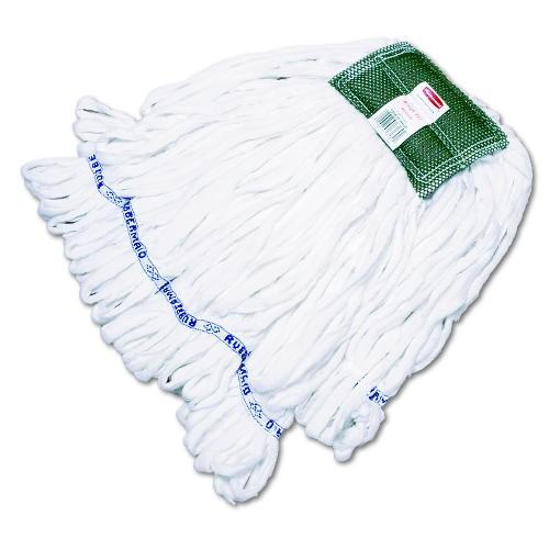 Rough Floor Mop Head, Medium, Cotton/Synthetic, White, 12/Carton