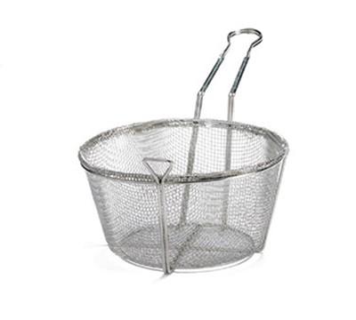Round 4-Mesh Nickel-Plated Fryer Basket - 8-1/2