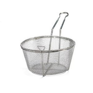 Round 4-Mesh Nickel-Plated Fryer Basket - 10-7/8