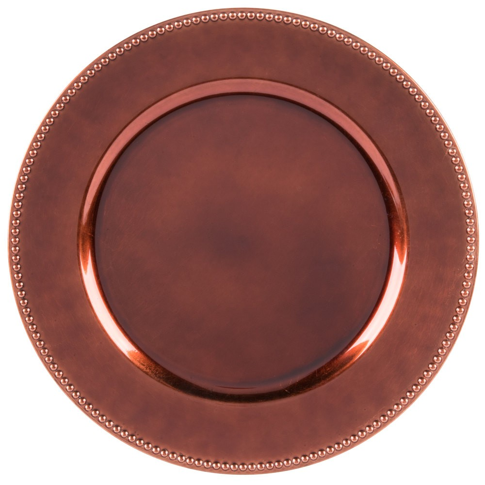 "Jay Import 1270172 Round Copper Beaded 13"" Melamine Charger Plate"