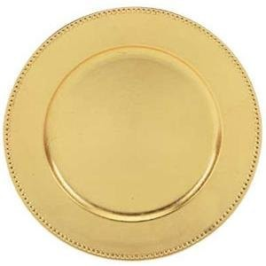 Round Acrylic Gold Beaded Charger Plate, 13""