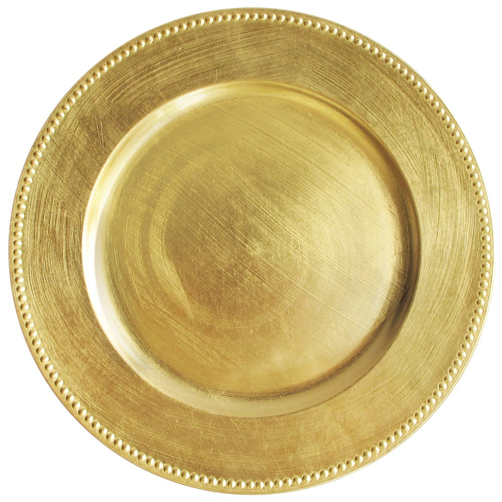 "TigerChef  Round Melamine Gold Beaded 13"" Charger Plate"