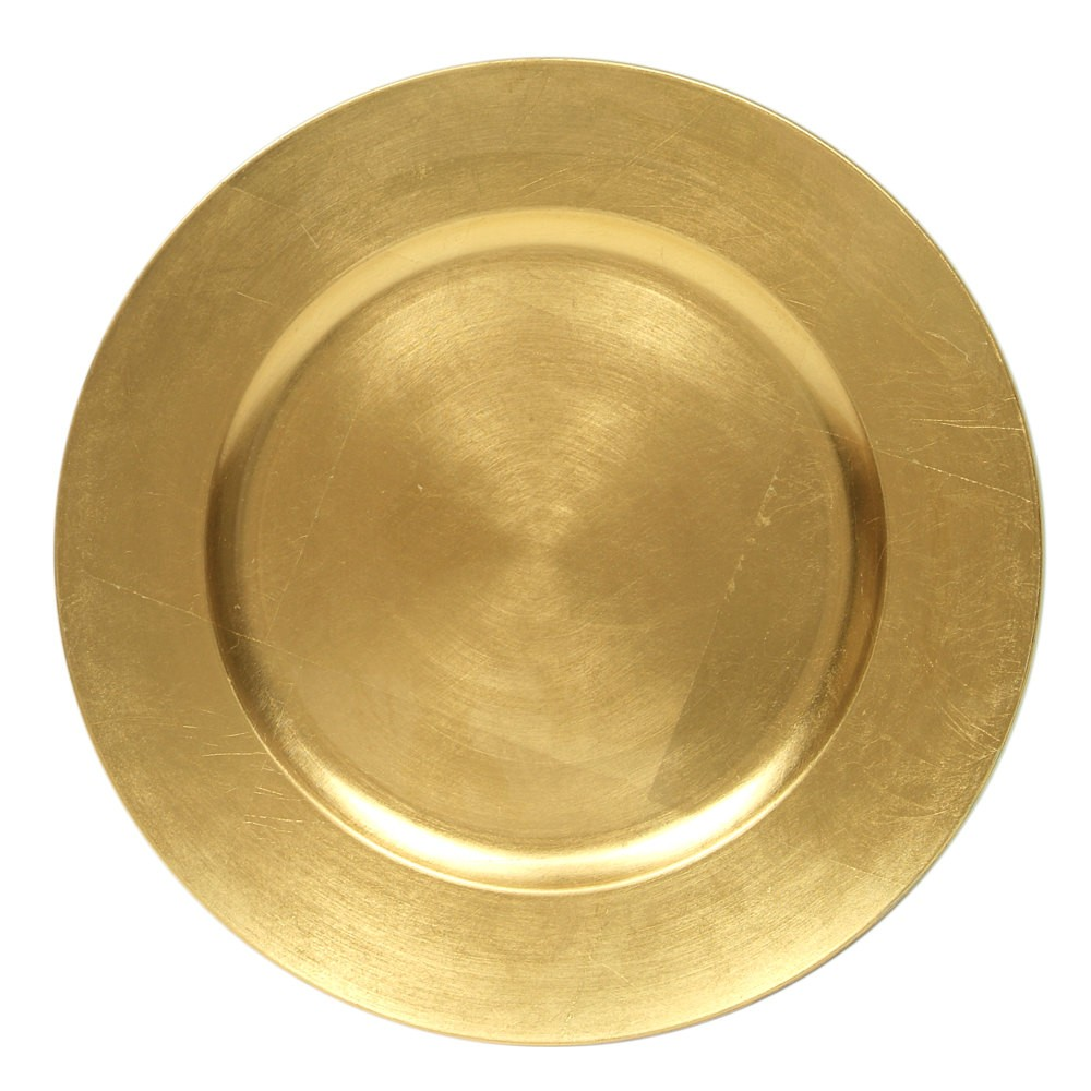 """Jay Import 1421917AP-F Round Acrylic Gold 13"""" Charger Plate"""