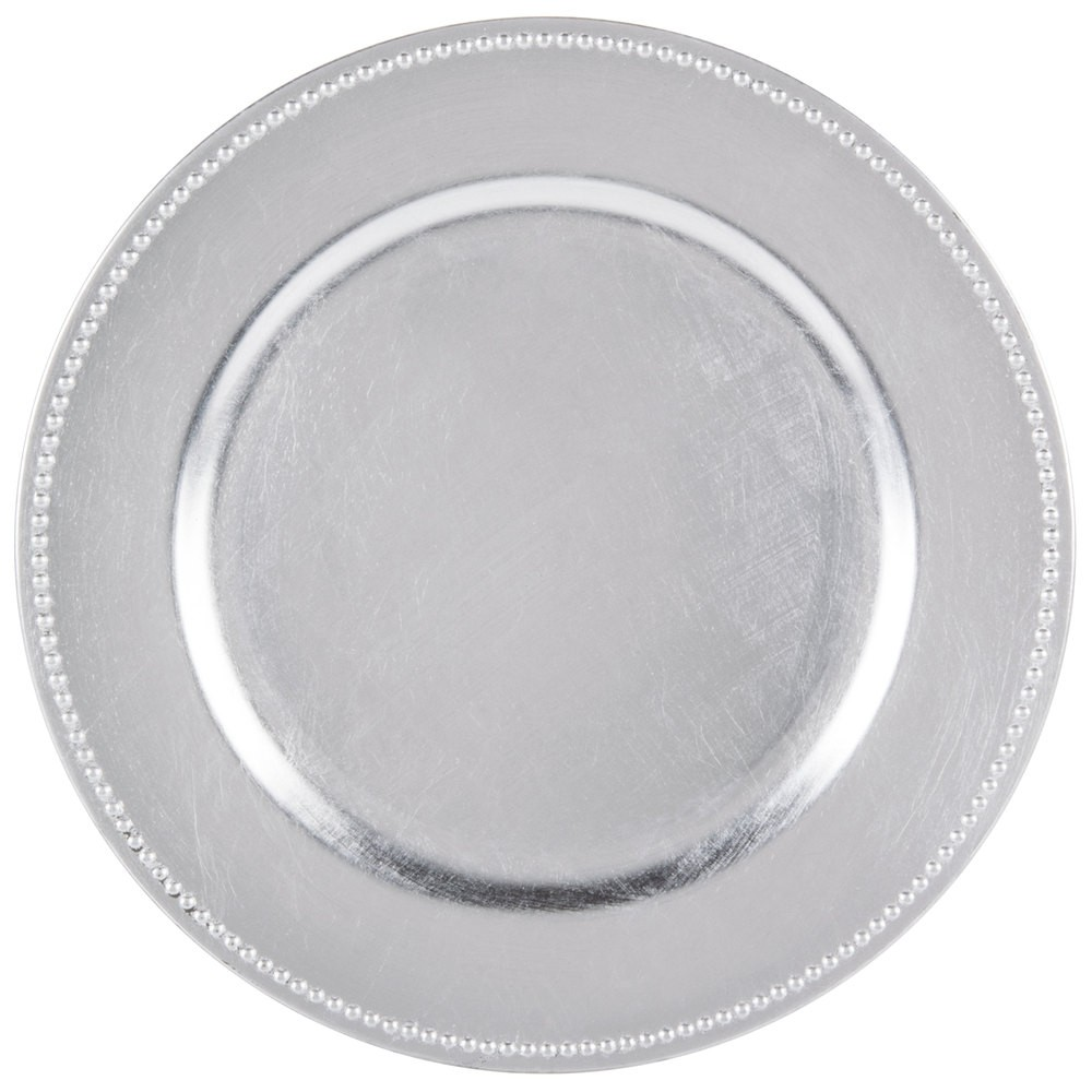 "Jay Import 1180006LD-F Round Acrylic Silver Beaded 13"" Charger Plate"