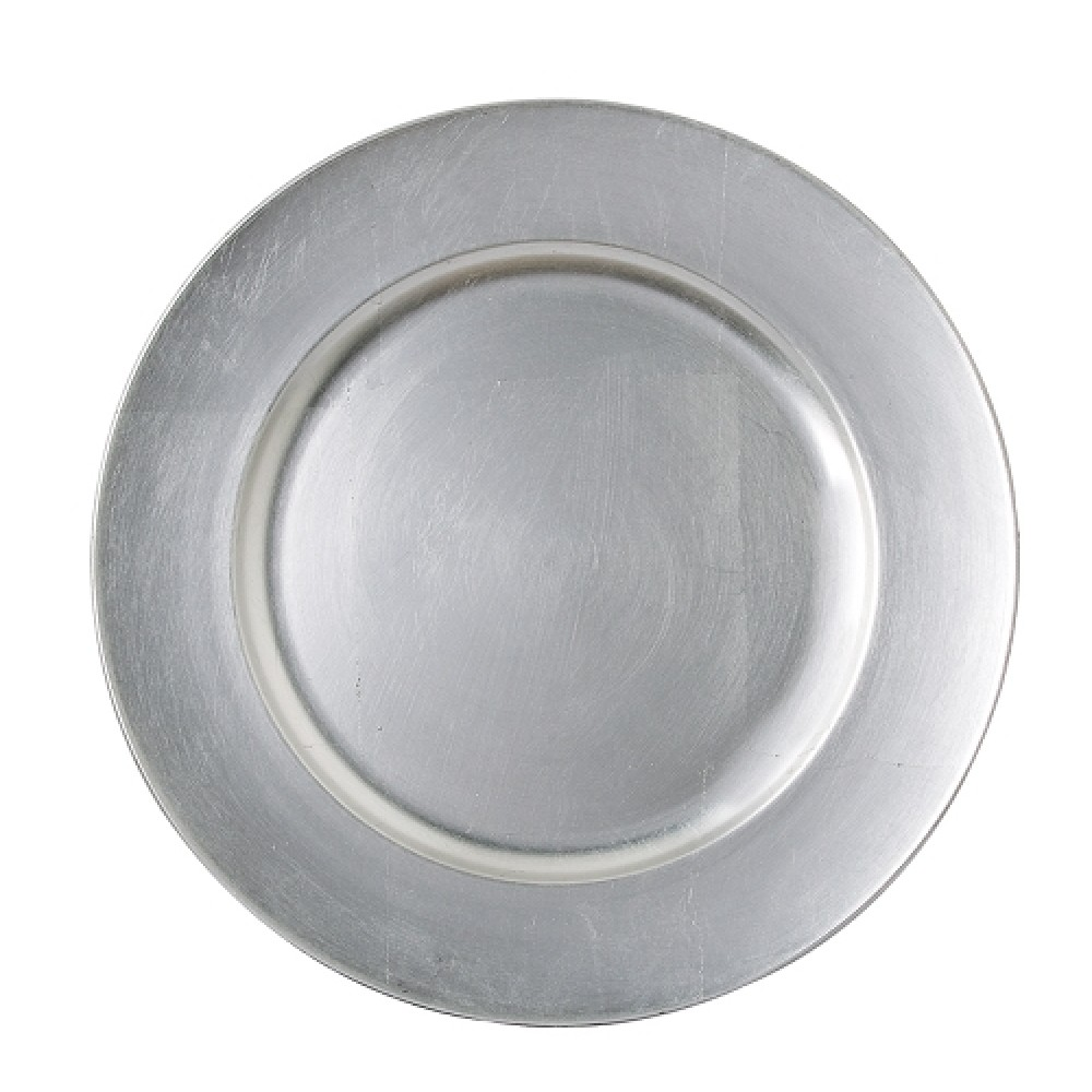 "Jay Import 1421918LD-F Round Acrylic Silver 13"" Charger Plate"