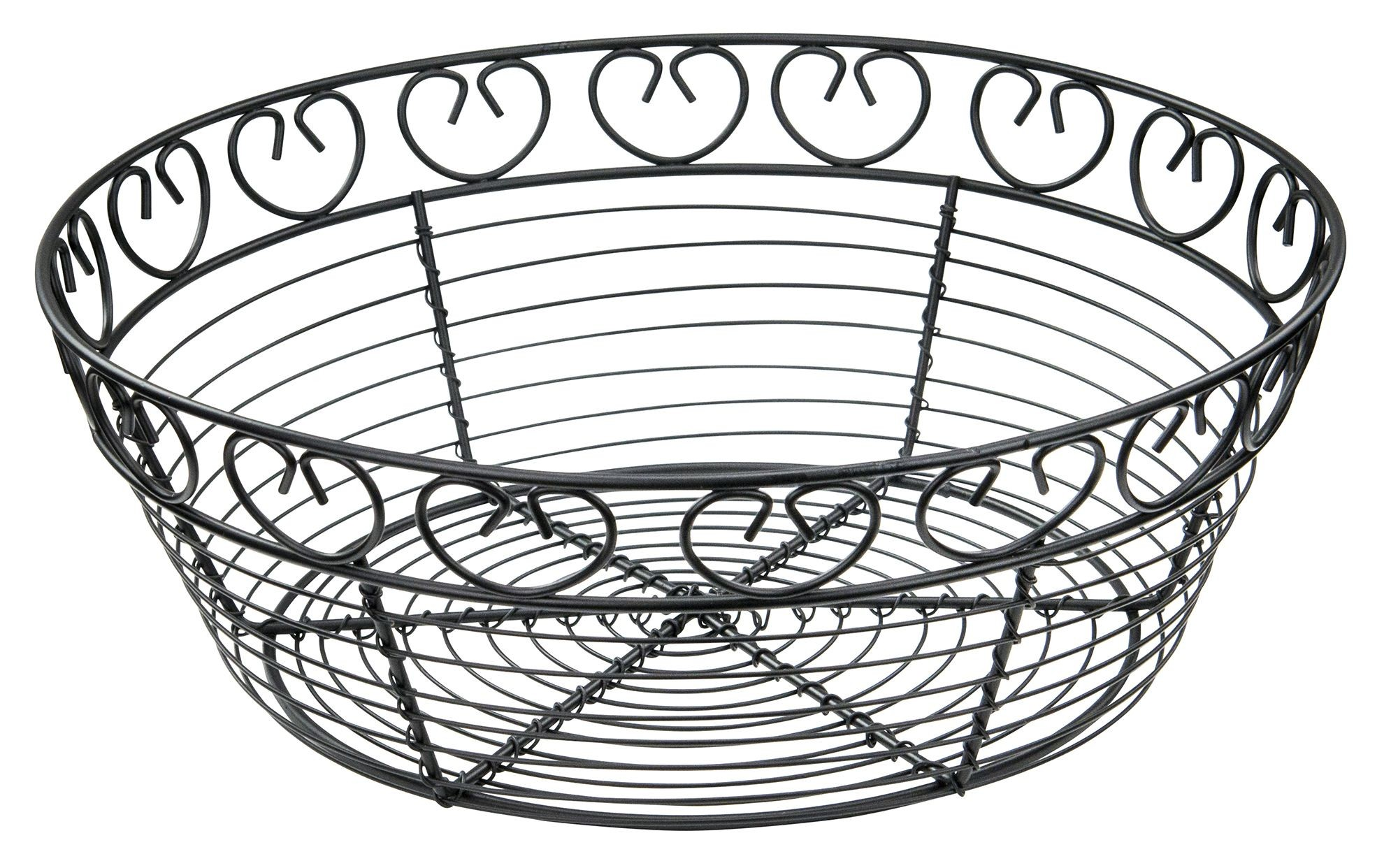 Winco wbkg-10r Round Black Metal Wire Bread Basket 10""