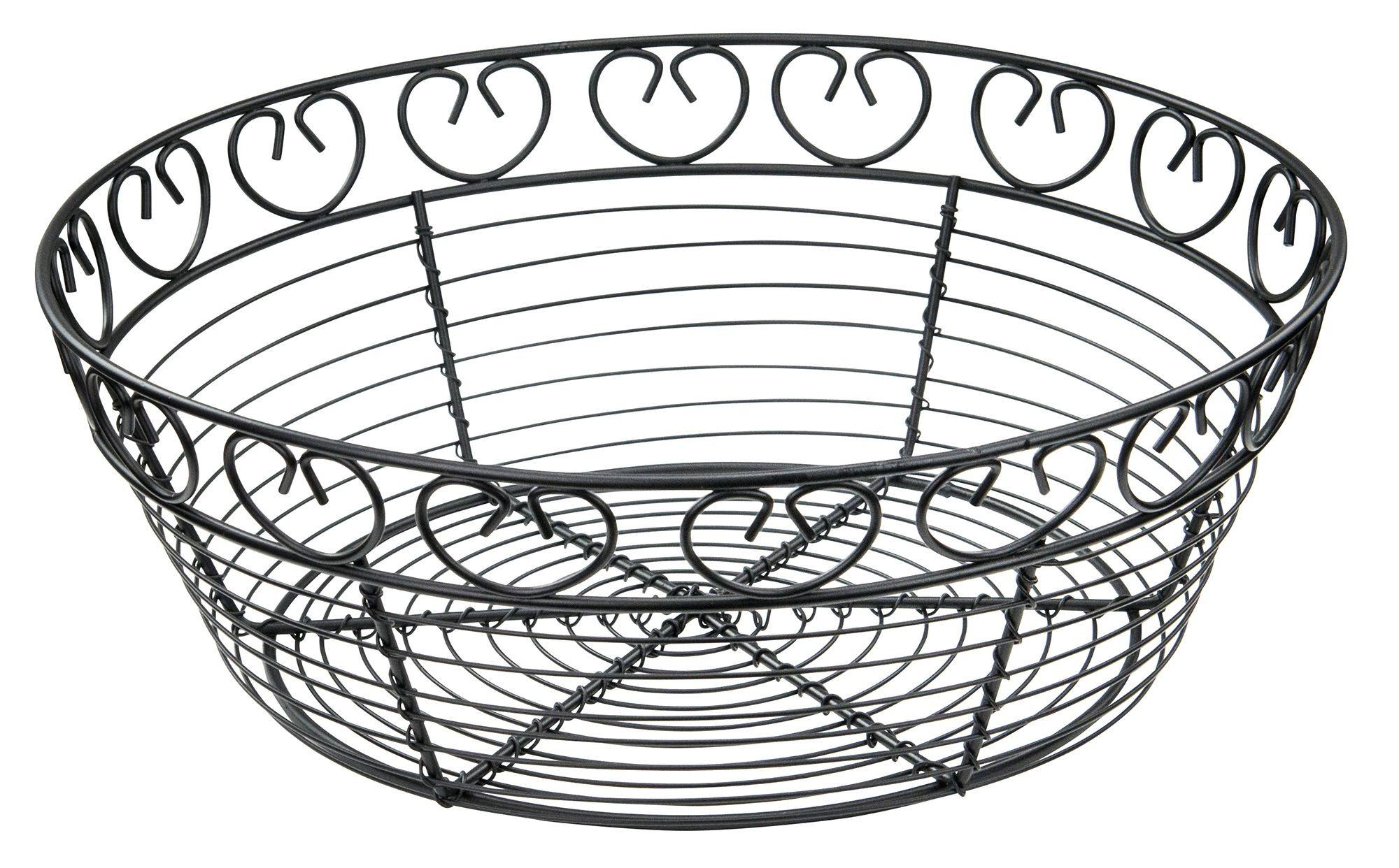 """Winco WBKG-10R Round Black Metal Wire Bread Basket 10"""""""