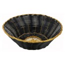 Round Black Poly Woven Basket With Gold Trim