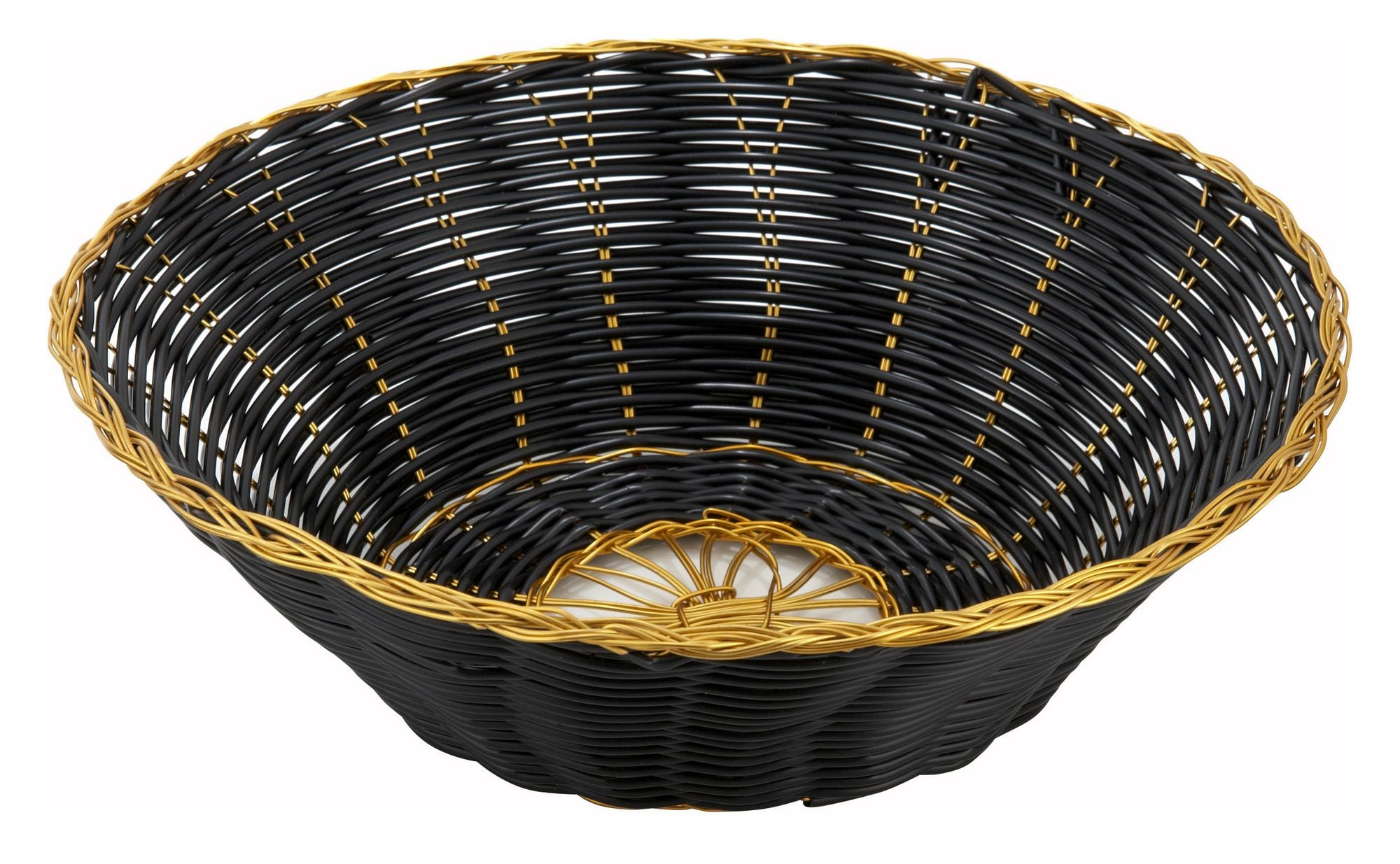 "Winco PWBK-8R Round Black Poly Woven Basket and Gold Trim 8"" x 3"""