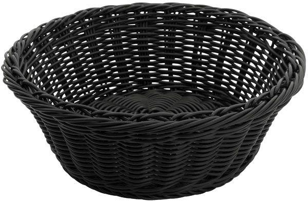 """Winco PWBK-88R Round Black Poly Woven Basket 8-1/4"""" x 3-1/4"""""""