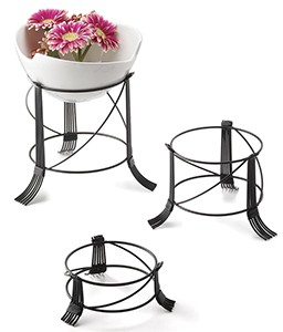 TableCraft BKRR3 3 Piece Round Black Metal Riser Stand