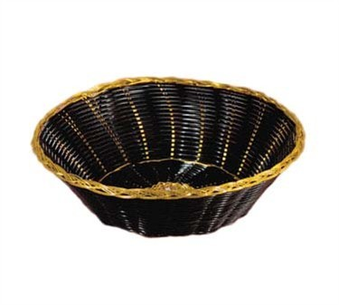 Round Black Vinyl Woven Bread Basket With Gold Metal Trim - 8