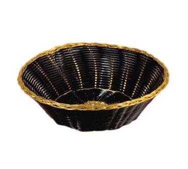 "TableCraft 875B Black Handwoven Basket with Gold Trim 8"" x 2-1/4"""