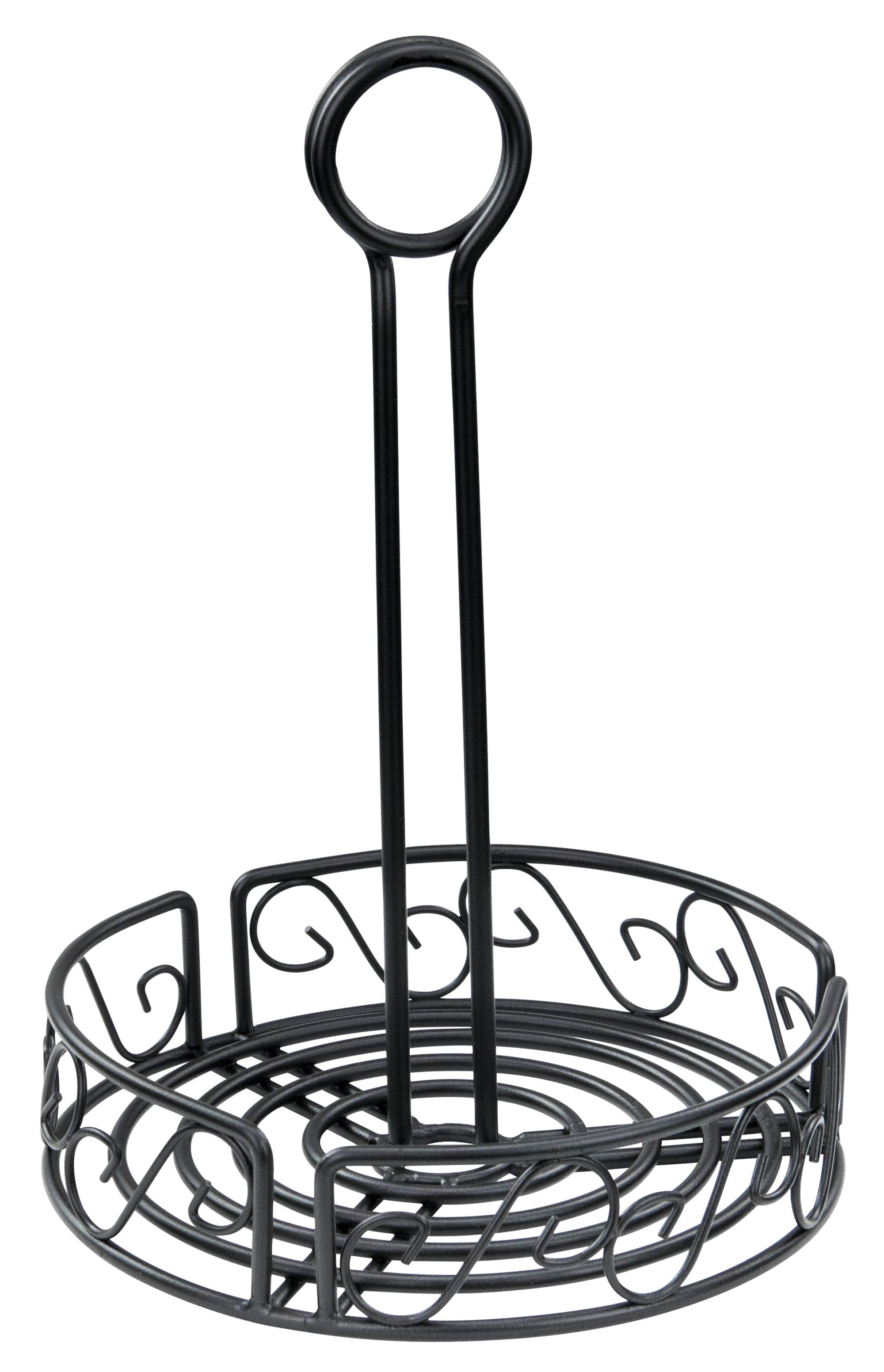 """Winco WBKH-6R Round Black Wire Condiment Caddy 6-1/4"""" x 9"""""""