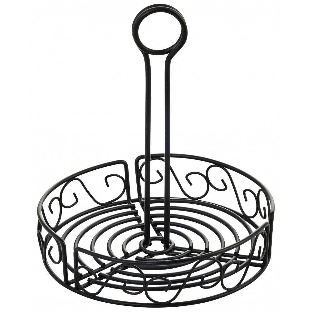 "Winco WBKH-7R Round Black Wire Condiment Caddy 7-1/2"" x 9"""