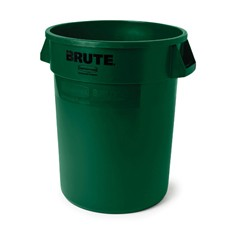 Round Brute Container, Plastic, 44 gal, Dark Green
