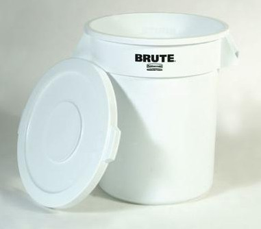 Round Brute Flat Top Lid, 16 x 1, White (lid only)