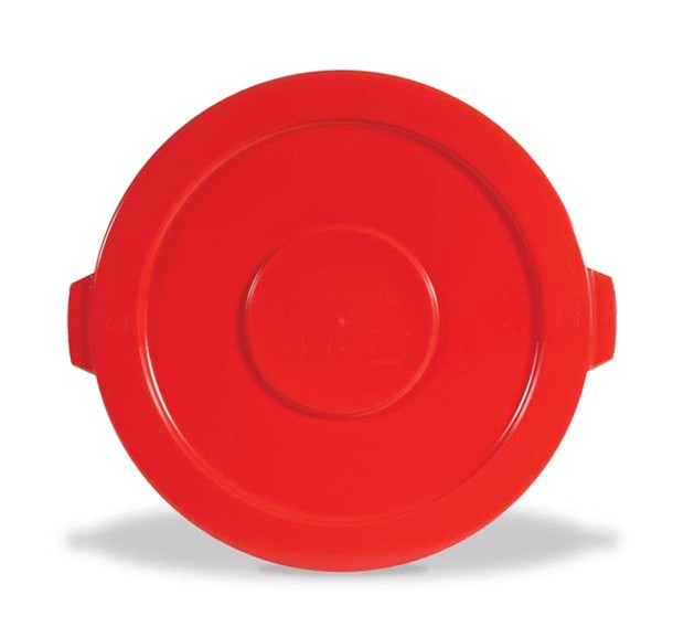 Round Brute Flat Top Lid, 22 1/4 x 1 5/8, Red