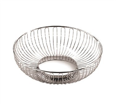 Round Chrome-Plated Wire Basket - 8-1/8