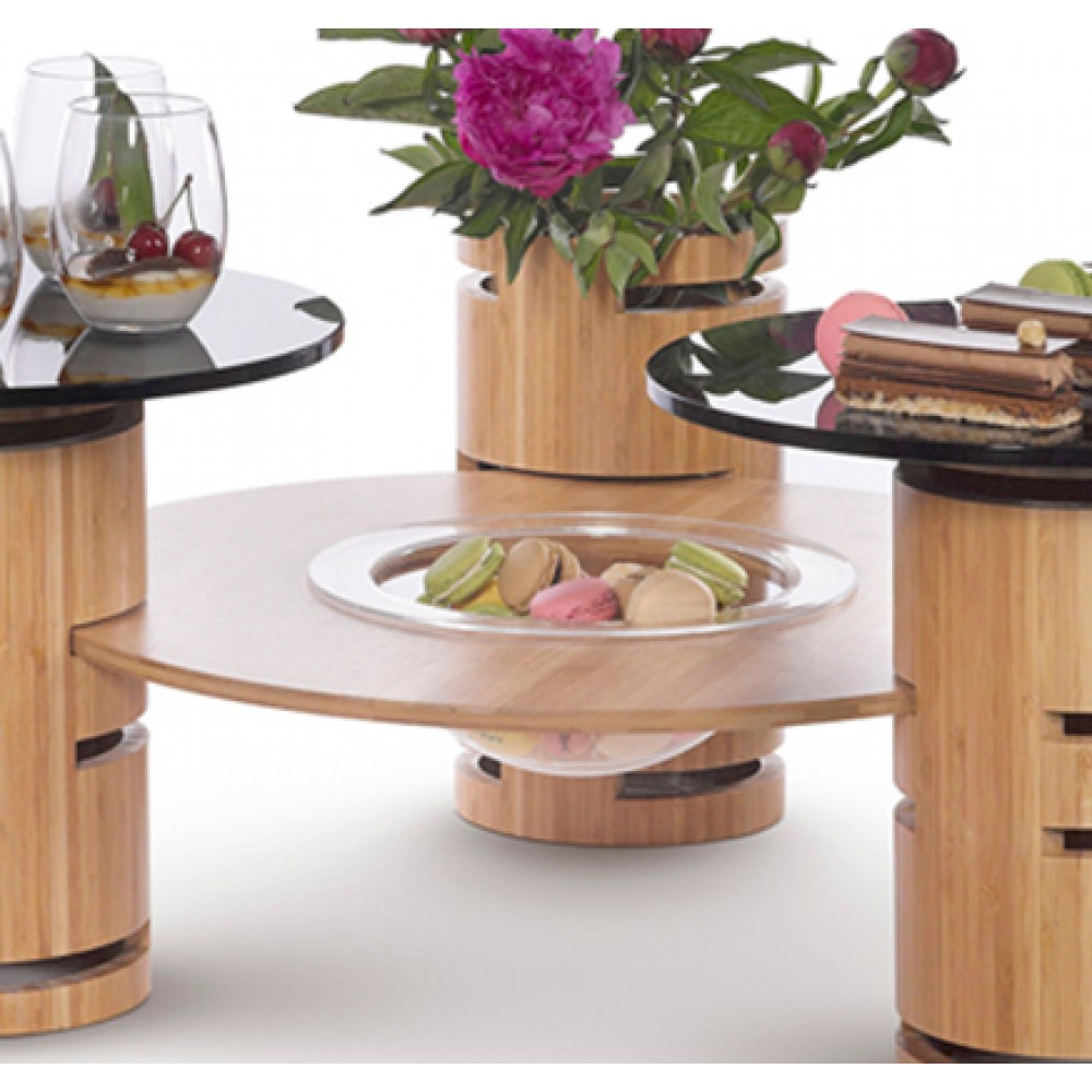 """Rosseto WP500 Round Bamboo Ring Surface with Acrylic Bowl Insert 20"""" x 20"""" x 3.8"""""""