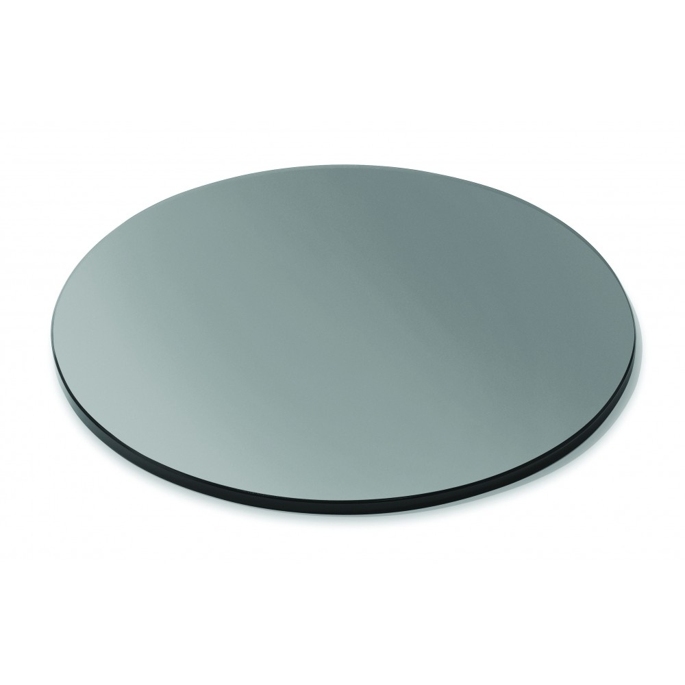 "Rosseto SG005 Round Black Tempered Glass Surface 20"" x 20"""