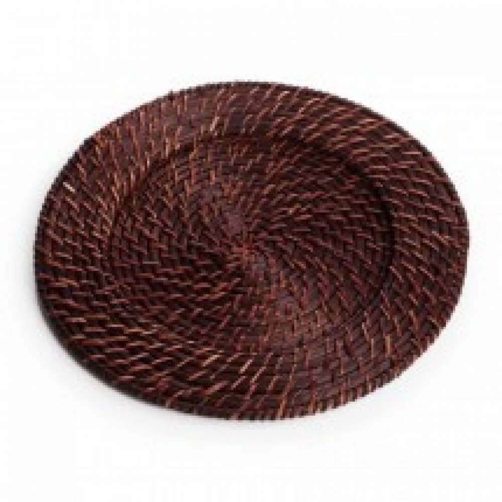 Round Rattan Charger Plates - Brick Brown