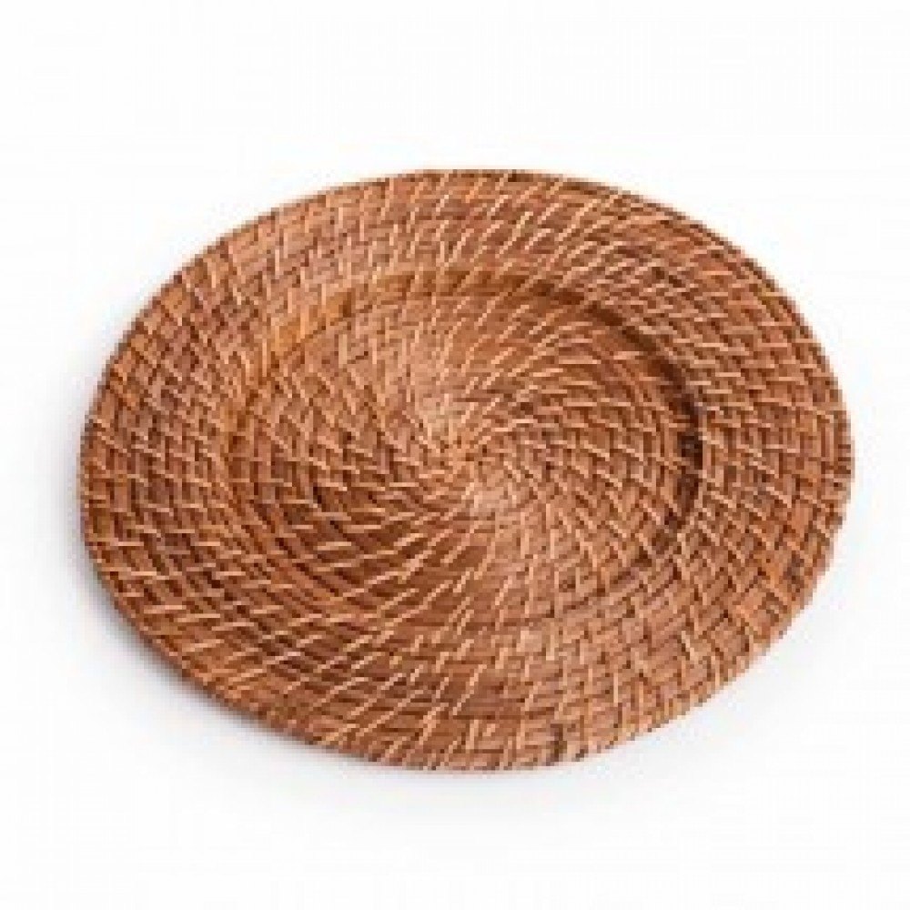"Koyal 402001 Round Rattan 13"" Charger Plate Honey Brown"