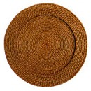 "Jay Import 1660150 Round Rattan 13"" Charger Plate, Honey"