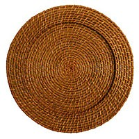 """Jay Import 1660150 Round Rattan 13"""" Charger Plate, Honey"""