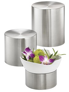 TableCraft RR3 Brushed Stainless Steel Round 3-Tier Riser Set
