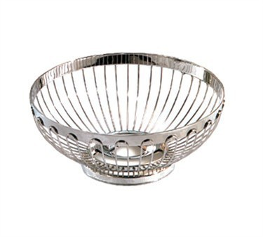 "TableCraft 6170 Round Stainless Steel Regent Basket 8"" x 3-1/4"""