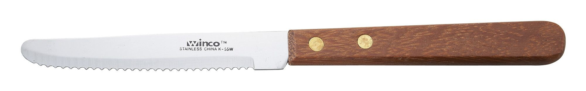 Winco k-55w Round Tip Steak Knife with Wooden Handle 4-1/2""