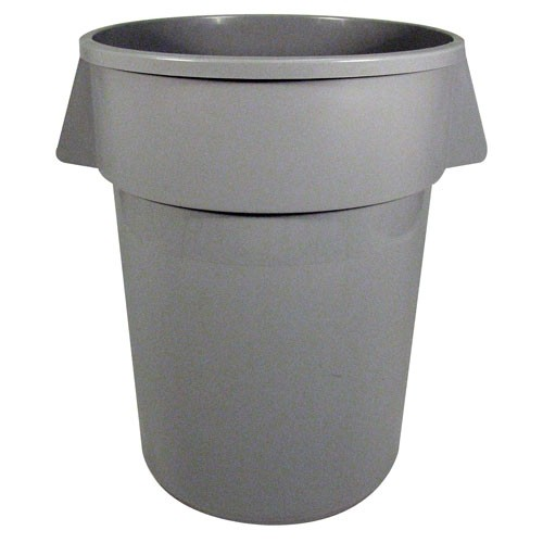 Unisan Round Gray Waste Receptacle, Plastic, 32 Gallons