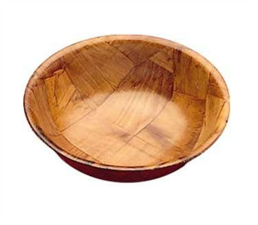 TableCraft 220W Round Mahogany Woven Wood Salad Bowl 20""