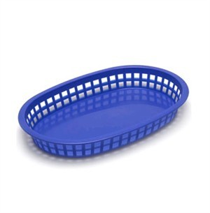 Royal Blue Oval Plastic Chicago Platter Basket - 10-1/2