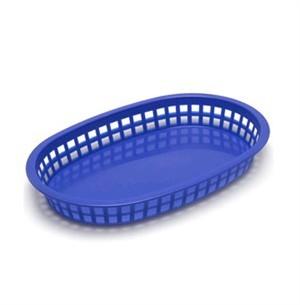 "TableCraft 1076BL Royal Blue Plastic Chicago Platter Basket 10-1/2"" x 7"" x 1-1/2"""