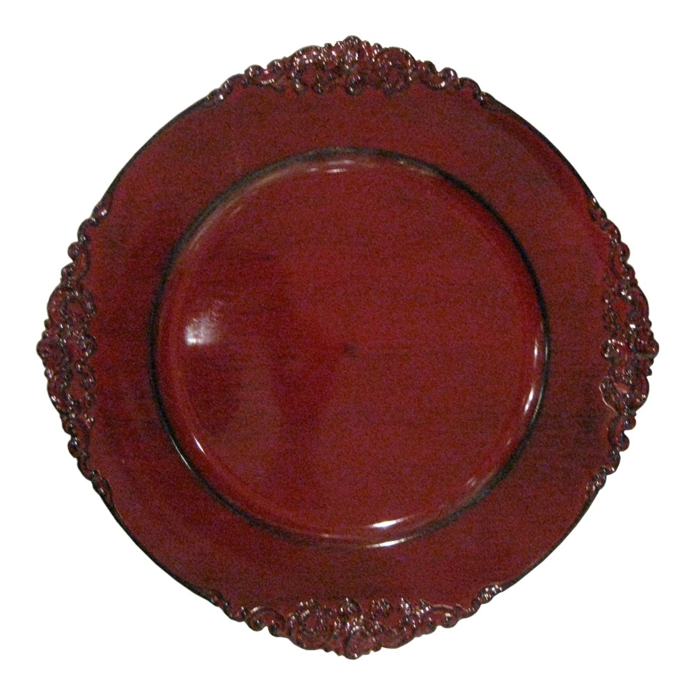 "Jay Import 1180256 Royal Embossed Red 13"" Charger Plate"
