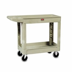 Rubbermaid Commercial Products Utility 2-Shelf Cart, 39.25L, 33.25H, 500 lb, Beige (Box of 1)