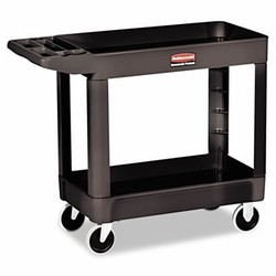 Rubbermaid Commercial Products Utility 2-Shelf Cart, 45.25L, 33.25H, 500 lb, Black (Box of 1)