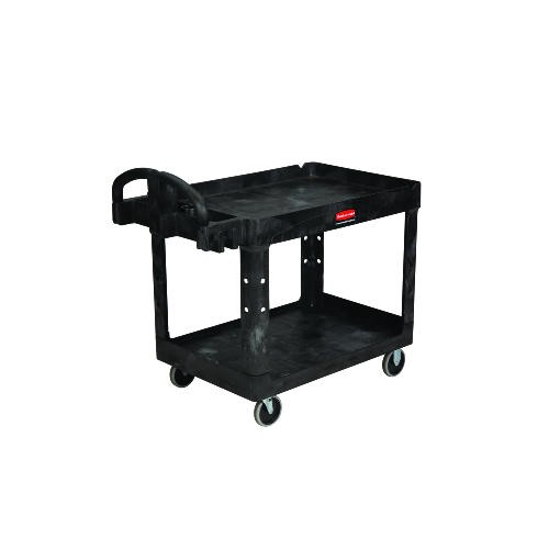 Rubbermaid Commercial Products Service 2 Shelf Cart 36 X 24, Structural Foam, Black (Box of 1)