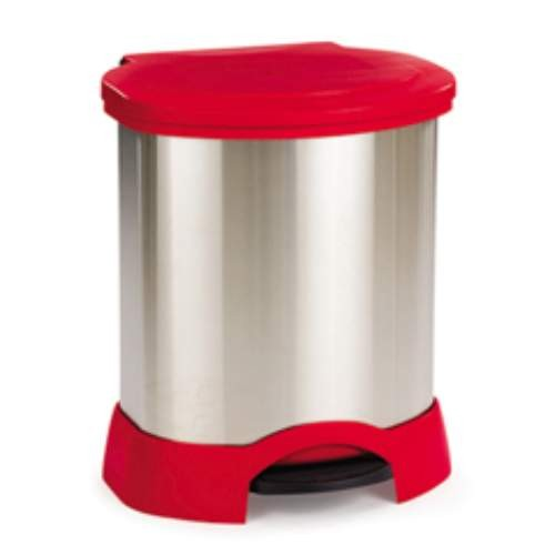 Rubbermaid Commercial Products Stainless Steel Step-On Container, 23 Gallon, Red (Box of 1)