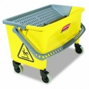 Rubbermaid Commercial Products Press Wring Bucket, 43 Quart, Yellow & Gray (Box of 1)