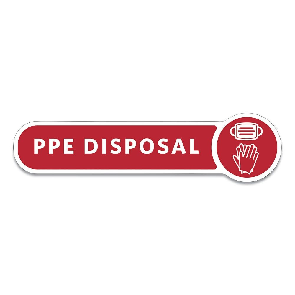 Rubbermaid Red Medical Decal, PPE DISPOSAL, 10