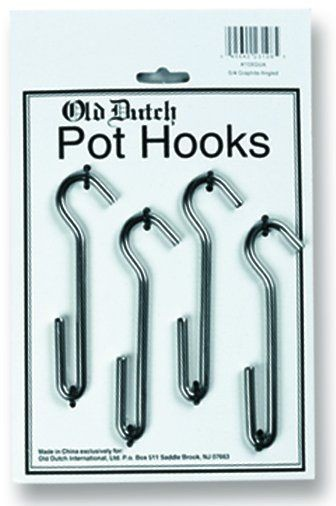 "Old Dutch International 108SNS 4 3/4"" Satin Nickel Straight Pot Rack Hooks, Set of 4"